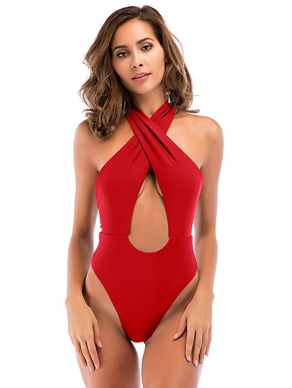 High Cut, Cross Halter, One Piece Monokini Swimsuit 16