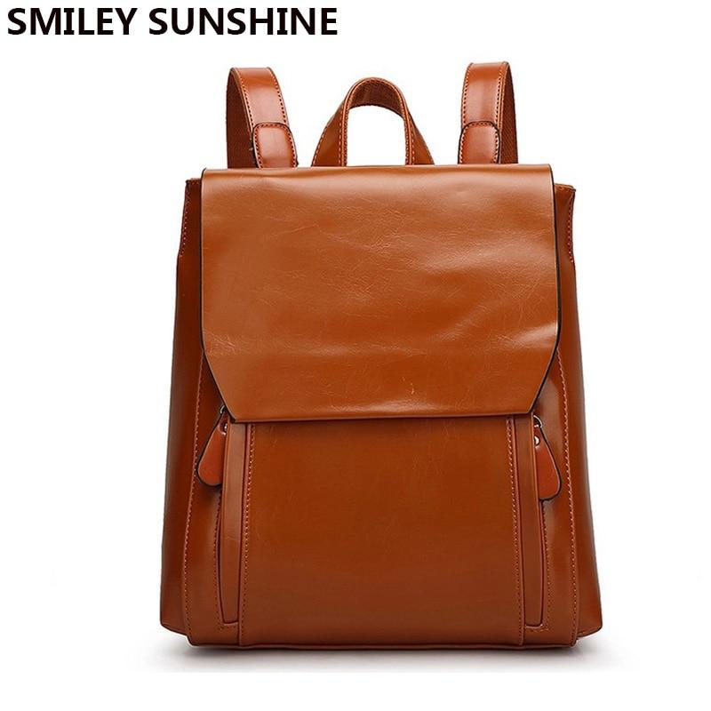 Fashion Brown PU Leather Women Backpack School Bag Backpacks for Teenage Girls Vintage Feminine Backpack rugzakken