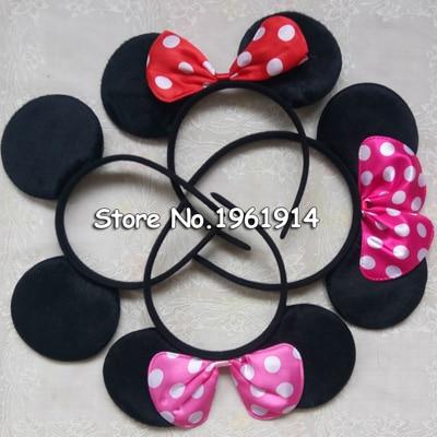 12 pc Minnie Mouse Ears Headbands Dark Pink Polka Dot Bows Mickey Birthday Party