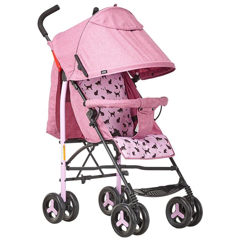 Bébé chariot à quatre roues peut s'asseoir inclinable lumière pliante couverture complète auvent trois réglable roue universelle