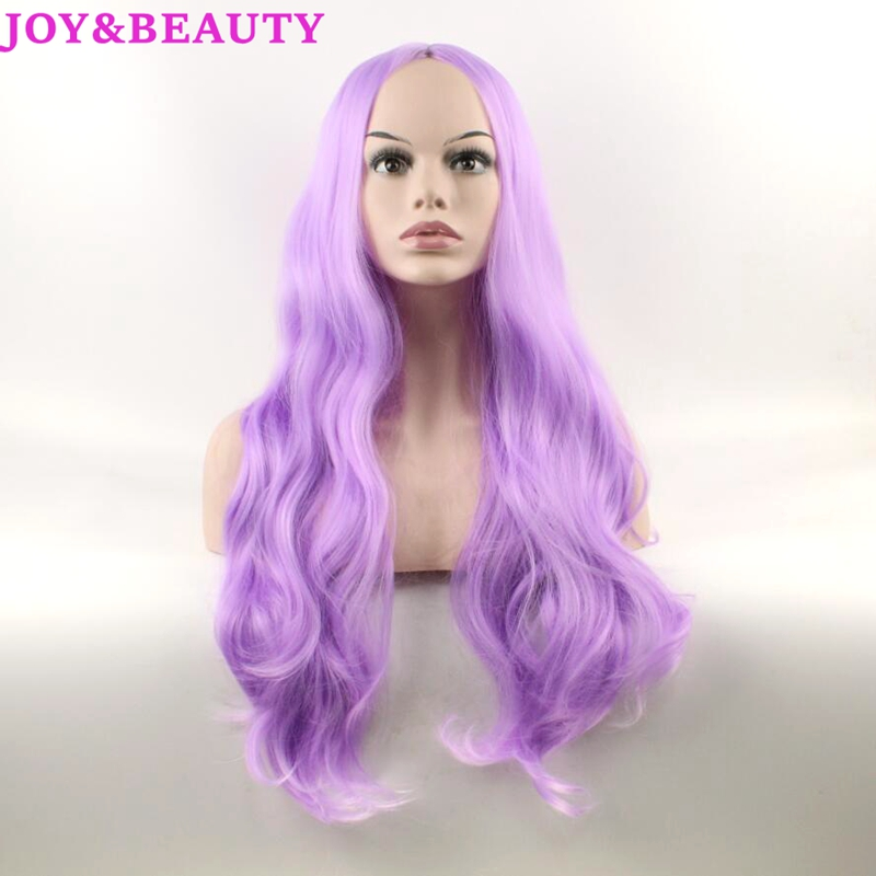 JOY&BEAUTY Hair Body Wave Synthetic Lace Front Wigs Matte Purple Long Wavy Wig 70cm Women Heat Reisistant Fiber Wig