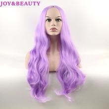 JOY&BEAUTY hair body wave synthetic lace front wigs matte purple long wavy wig 70cm Women heat reisistant fiber
