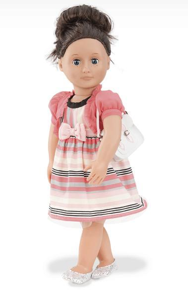 Give Rosey Posey  1 Stripe Dress,  1 White Purse, 1 Pair Of Shoes American Girl Doll Clothes Children Best Chrismas Gift AG675