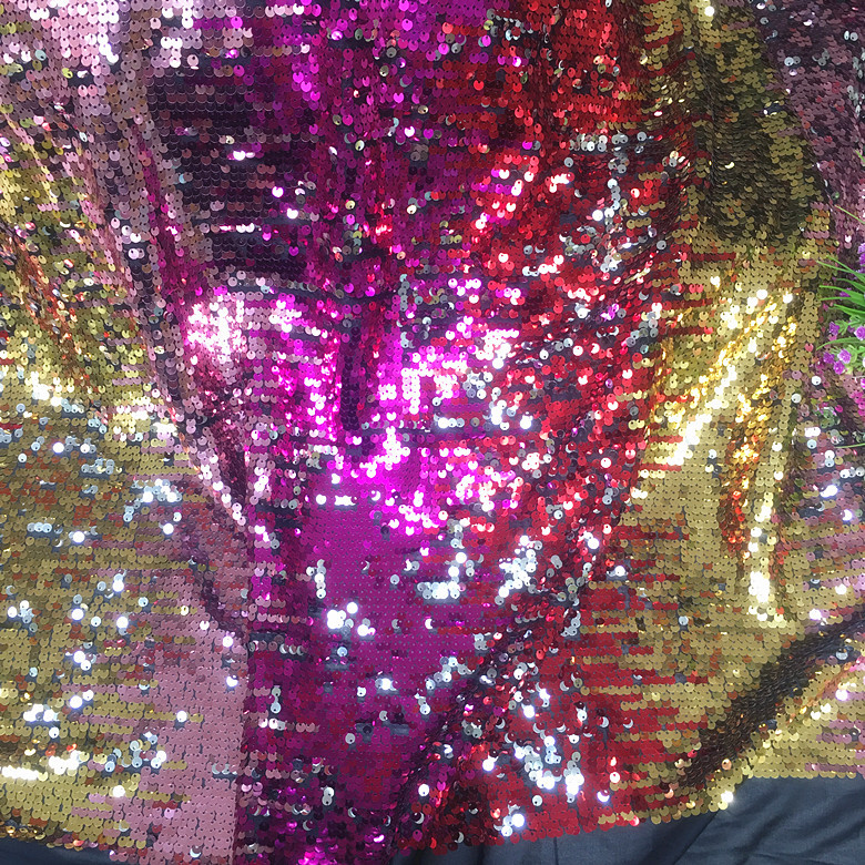 <font><b>Rose</b></font> <font><b>Gold</b></font> Gradient Fabric Four-color Gradient Sequin Fabric Dress Dance <font><b>Skirt</b></font> Dress Sequin Fabric image