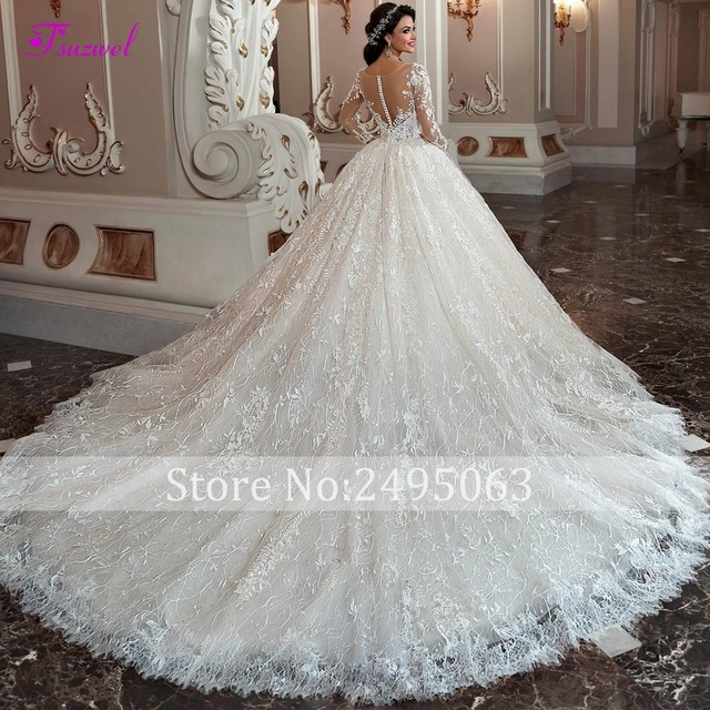 Fsuzwel Gorgeous Appliques Chapel Train Lace Ball Gown Wedding Dress 2019 Sexy Scoop Neck Long Sleeve Beaded Princess Bride Gown 2