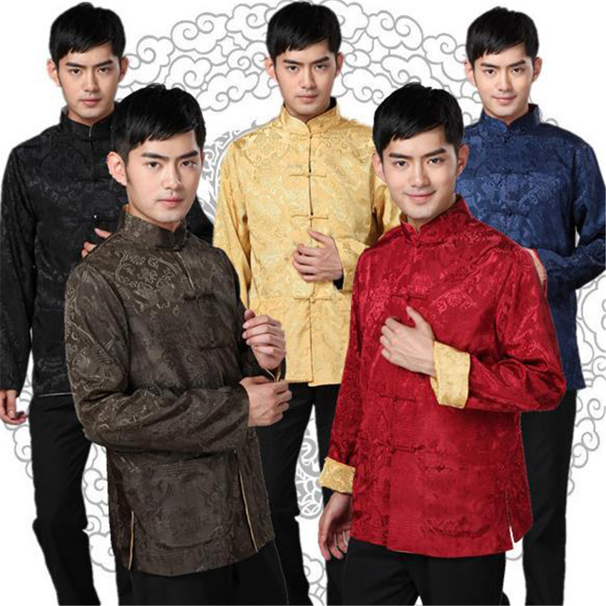 Tang Suit Traditional Chinese Clothing For Men Shirt Jacket  Double Wear Collar Cheongsam Top Retro News Year Clothes Kung Fu