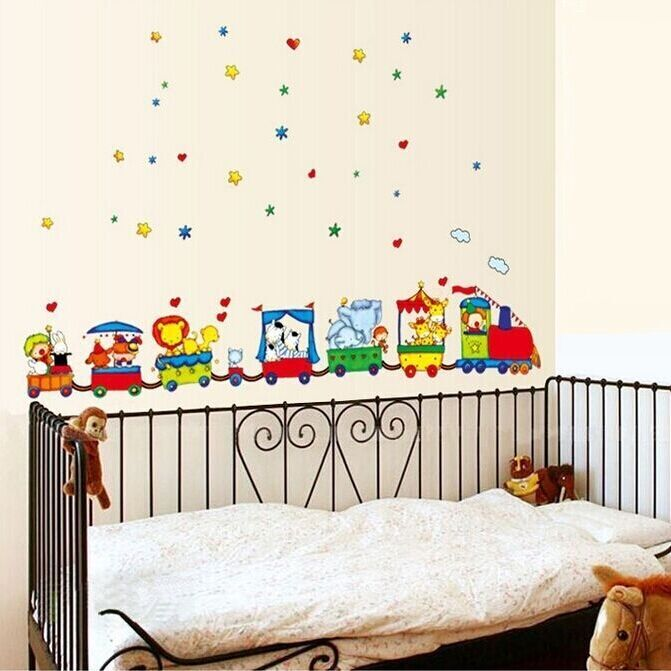 Free shipping art vinyl animal circus train diy removable - Childrens bedroom wall stickers removable ...