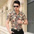 Venda quente M-6XL 7XL 2016 chegada Nova Floral Dos Homens camisas de vestido camisas de algodão de Forma magro dos homens camisa de manga Curta homens Marca de roupas