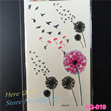 1PC Dandelion Flower Fairy Temporary Tattoo Sticker AQ019 3d Small Birds Flower Pulseira Women Fake Metallic Small Black Tattoos