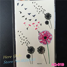 1PC Dandelion Flower Fairy Temporary Tattoo Sticker AQ019 3d small birds flower pulseira women fake metallic small black tattoos(China)