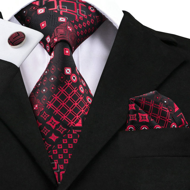 a1920d159f45 SN-1417 Black Dark Red Mens Ties Pocket Square Cufflinks Plaid Ties For Men  Suits