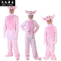 Pig Pajama Onesie Women Adult Kigurumi Pink Animal Cosplay Costume Flannel Warm Soft Sleepwear Girls Cartoon Carnival Party