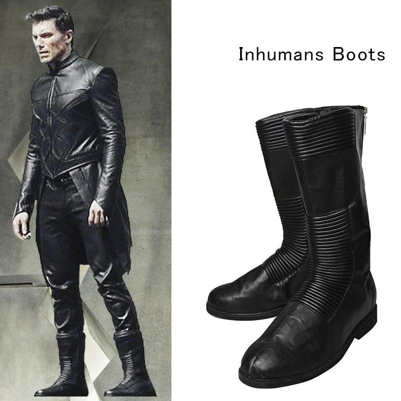 Inhumans Black Bolt Boots Black Leather Shoes for Adult Men Halloween Props Custom Made