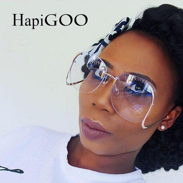 33ac2963091f2 HapiGOO 2018 Nouveau Rétro Sans Monture Ovale Grosses Lunettes de Soleil  Femmes Marque Designer De Mode