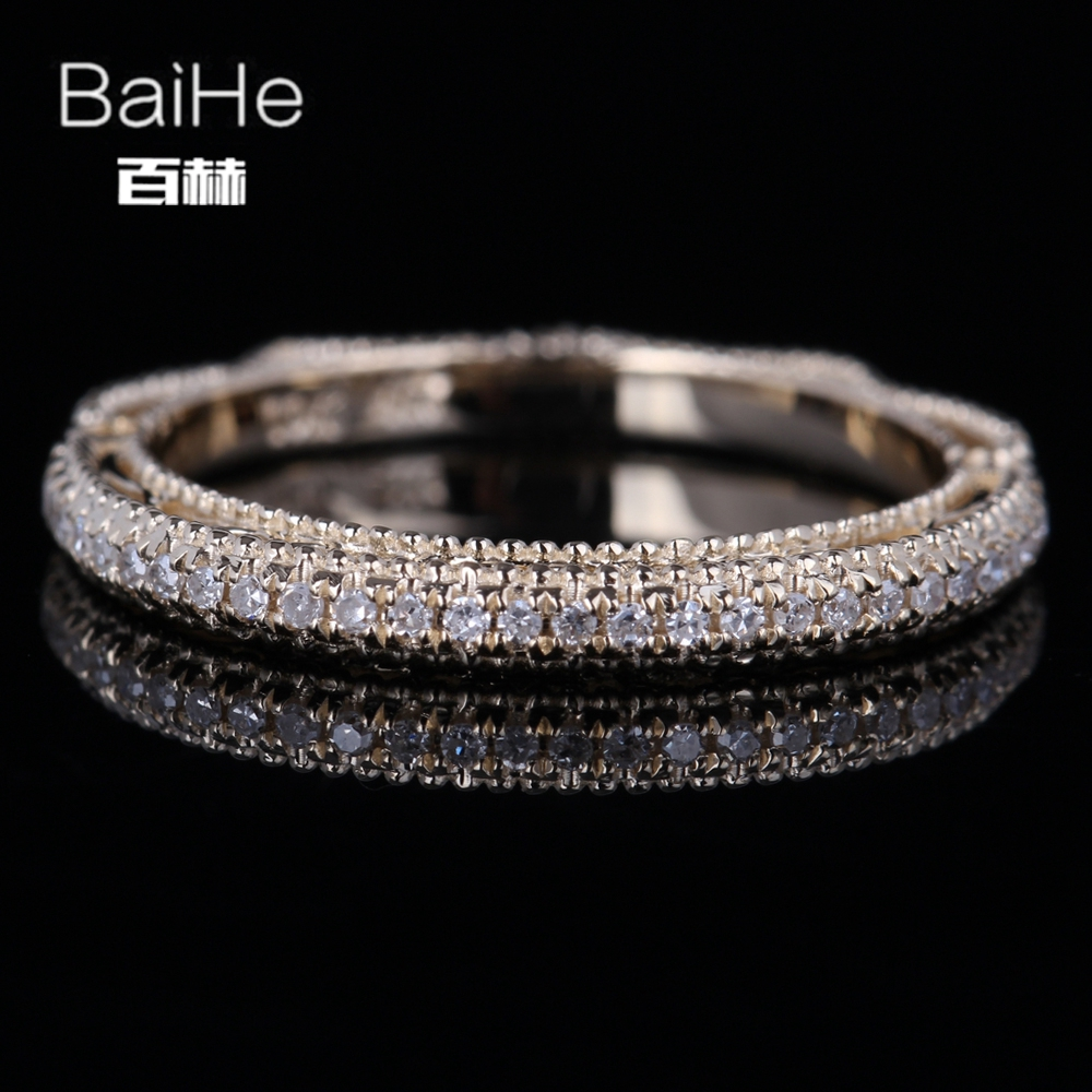 BAIHE Solid 14K Yellow Gold(AU585)0.2CT Certified H/SI Round Cut Genuine Natural Diamond Wedding Women Trendy Fine Jewelry Ring