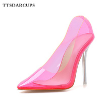 TTSDARCUPS New style pointed single shoes transparent small high-definition high heels Fine-heeled Princess Girls Crystal Shoes босоножки no pink crystal high heeled princess shoes