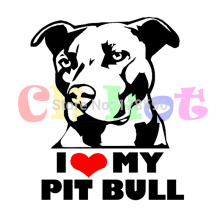 16.7*14cm I Love My Pitbull Vinyl Decal Car Sticker for car windows Body truck wall funny bumper Animal stickers Black/Silver