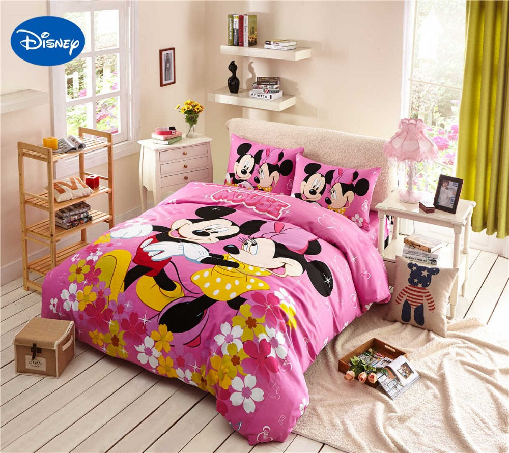 Cartoon Disney Print Bedding Set Cotton High Quality Mickey And Minnie Mouse Comforter Bed Duvet Cover