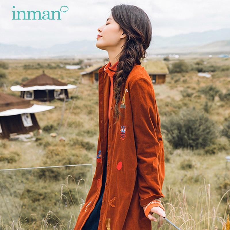 INMAN Winter Comfortable Cotton Material Retro Style Women Long Blouse