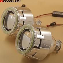 2.5 Daytime Running External Lights Lenses HID Bi Xenon H1 Projector Headlight Lens with White 80mm LEDs COB Angel Eye H4 H7 Car