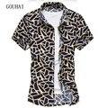 Homens Camisa ocasional 2017 Verão Nova Moda Dos Homens Camisas de Manga Curta Camisas de Alta Qualidade de Impressão Masculino Plus Size M-6XL 7XL
