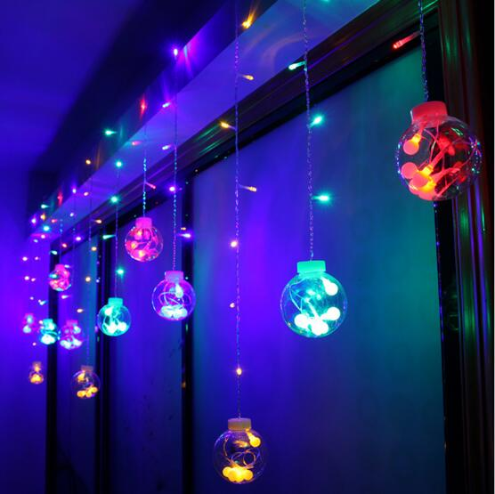IWHD Navidad LED Christmas Lights 220V Big Cotton Ball Decoration Cristmas LED String Fairy Lights Garlands Luzes De Natal cancion de navidad