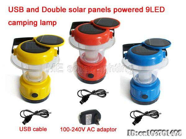 Whole Double Solar Panels Camping Lantern Light 9led Usb Charger 60pcs Lot Free Shipping