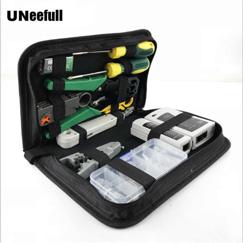 11 in 1 Computer Network Repair Tool Kit LAN Cable Tester Wire Cutter Screwdriver Pliers Crimping Maintenance Tool Set Bag Tools