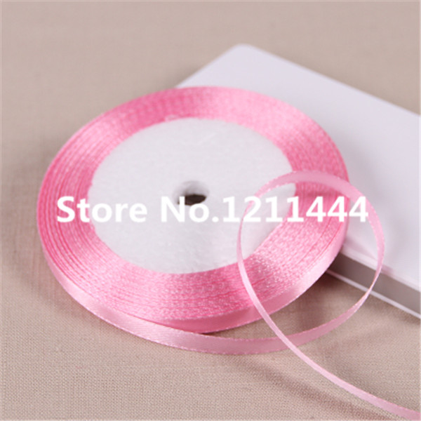 79# 6mm Wide 25Yards/Roll Satin Ribbons for Christams Gifts/ Wedding Place /Birthday festival party decoration Pink Ribbon