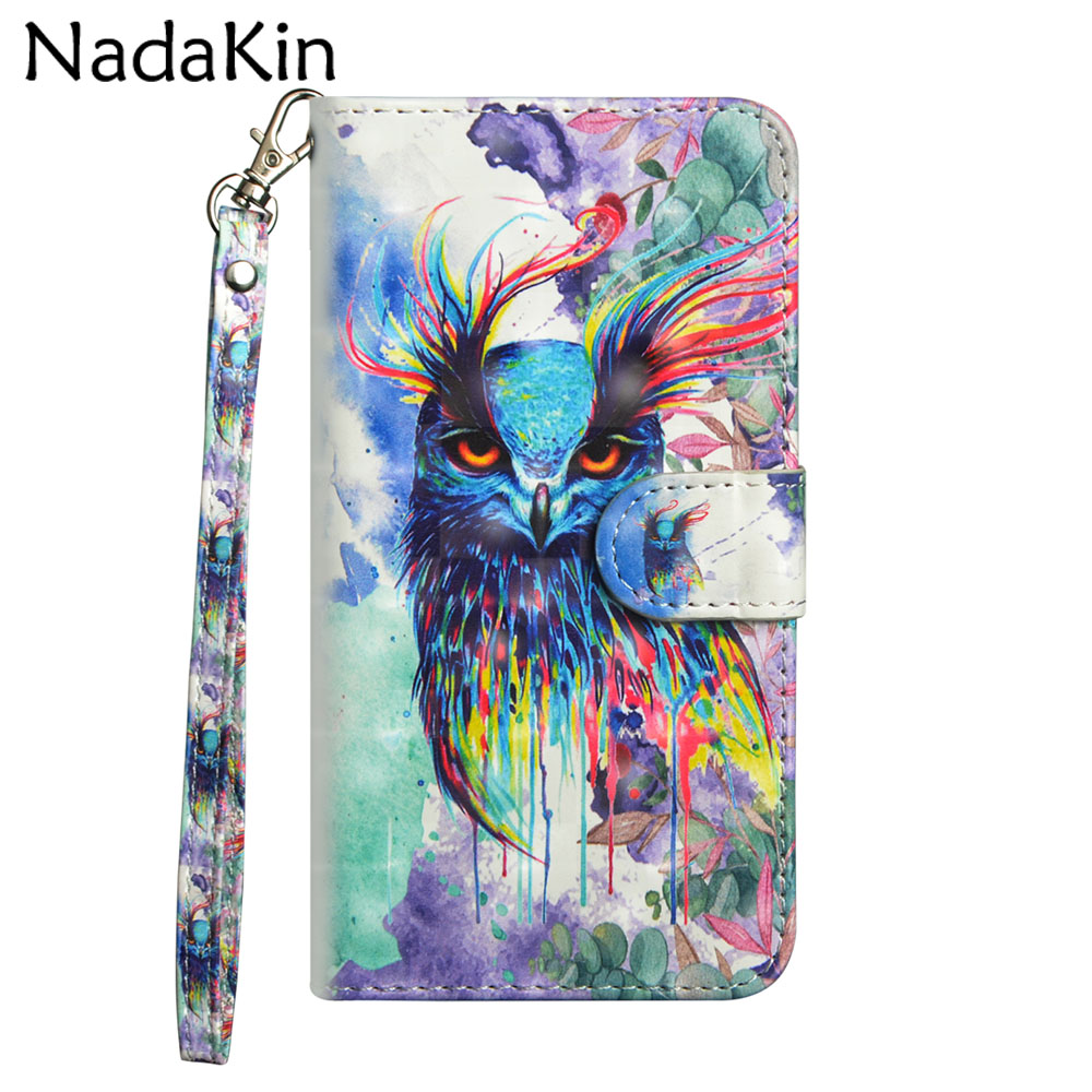 3d Painted Flip Brieftasche Buch Fall Für Oneplus 1 + 6 Abdeckung Leder Telefon Shell Tasche Mit Hand Seil Armband Panda Eule Katze Muster