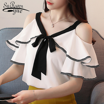 Sexy strapless bow V-neck women's clothing blusas