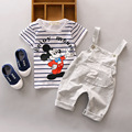 2017 striped Baby clothing set cotton material o-neck with mouse baby girl clothes set kids children clothing new born bebes
