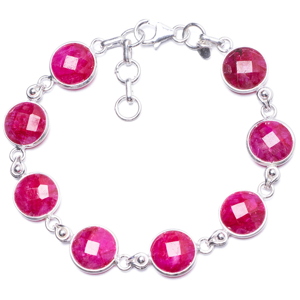 Natural Cherry Ruby Handmade Unique 925 Sterling Silver Bracelet 7-7 3/4 Y1924 цена