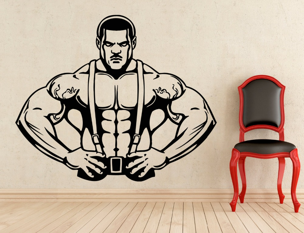 Handmade Wall Stickers Bodybuilding GYM Sexy Muscle Men ...