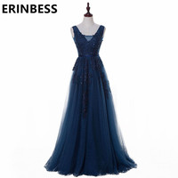 Vestido De Festa V Neck Cap Sleeve Vintage Lace Appliques Beaded Navy Blue Bridesmaid Dresses Women