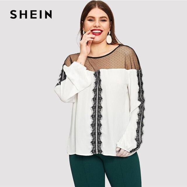 SHEIN Dot Contrast Mesh Lace Insert Colorblock Top Plus Size Elegant Blouses 2019 Women Spring Bishop Sleeve Top Blouse 1