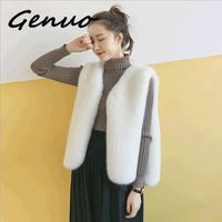 Genuo New 2019 cashmere Sweater Autumn Winter New arrival Real Water Fur Fashion Cardigan Shawl Thickened Short paragraph coat