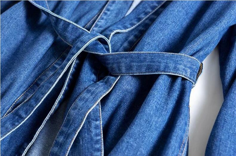 cf2e25582fc Vintage Lapel Side pockets Blue Denim Kimono Sleeping Style Trench ...