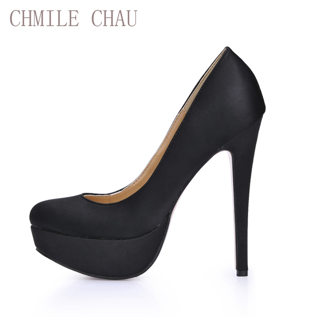 a7b57acdc CHMILE CHAU Sexy Black Party Women Shoes Stiletto Thin High Heels Platform  Work Career Office Ladies Pumps Zapatos Mujer 3463-a4