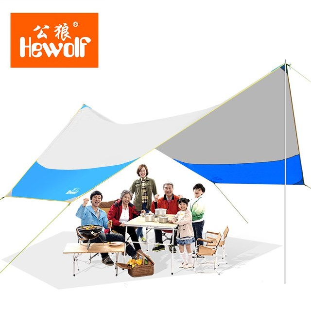 Hewolf UV Hexagonal Sun Shelter With Poles Waterproof Awning Canopy Beach Tent Shade Tarp