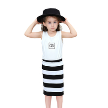Summer Girl Clothes Two-piece Cotton Cartoon Print Vest Striped Short Skirt Baby 2-7 Y Children Quality Clothing 2019 Hot Sale