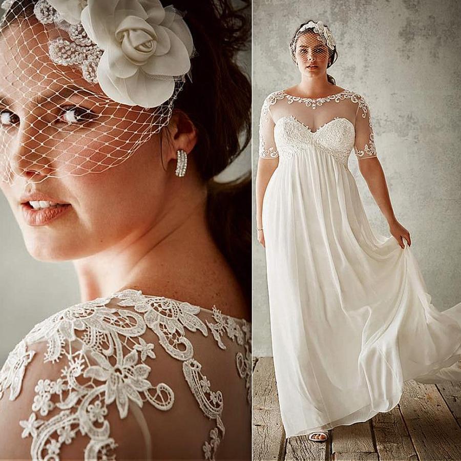 Flowing Bateau Neckline A-Line Plus Size Wedding Dresses With Lace Appliques Long Sleeves Bridal Dress Vestido Festa