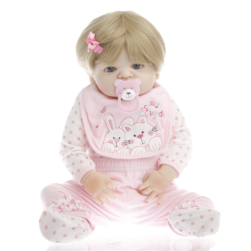 22 inch 55 cm Silicone baby reborn dolls, lifelike doll reborn babies toys for girl princess gift Beautiful pink floral skirt 70cm silicone reborn baby doll toys lifelike 28 inch big size princess toddler girl reborn dolls toys clothing shop model doll