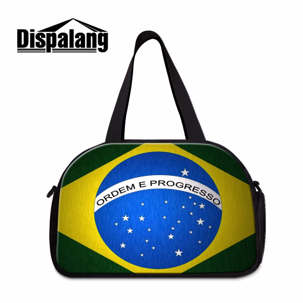 Dispalang Luggage Travel Bag Flag Of Brazil Print Organizer Unisex Duffle Bag Carry On Luggage Bags Large Weekend Bag Overnight