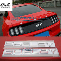 Free shipping car stickers styling for 2015 2016 new ford mustang stainless steel logo of SHELBY high quality