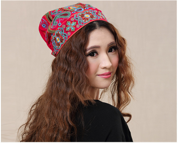 Chinese style ethnic red blue flowers embroidery hat cap headgear women 2017 autumn winter vintage design skullies beanies 100 super cute little embroidery chinese embroidery handmade art design book