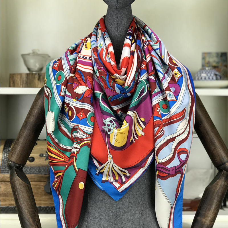 Spring 100% Silk Scarf Women Large Shawls Floral Print Stoles Square Bandana Luxury Brand Kerchief Scarves Female Foulard 130cm