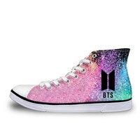 bb807f4dbb23 ELVISWORDS Fashion Kpop BTS Shoes High top Canvas Flat Sneakers Shoes Women  Classic Lace-up