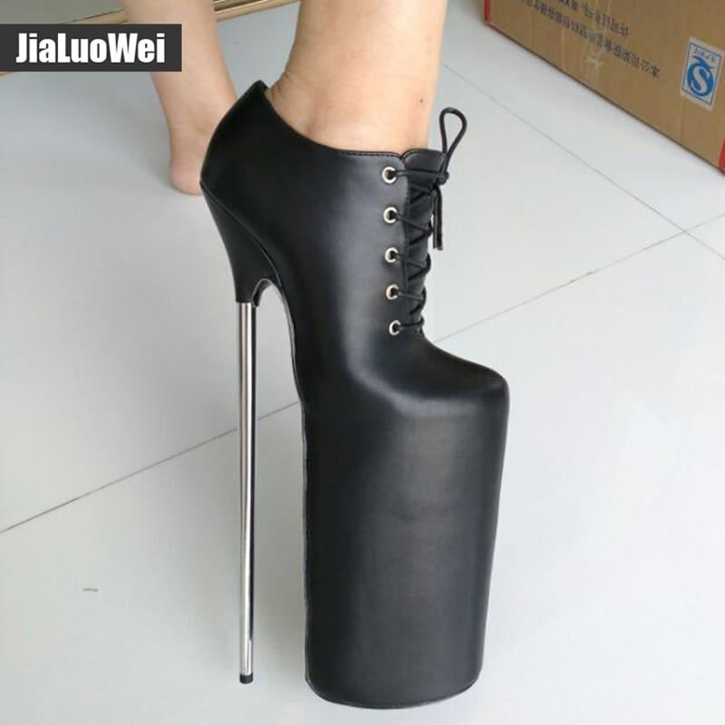 Для женщин сапоги обувь ручной работы 30 см на очень высоком шпильках + 15 см на платформе Фетиш сексуальный металлический каблук на шнуровке