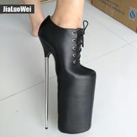 Женские ботинки, обувь ручной работы, высокий каблук 30 см + платформа 20 см, пикантные ботильоны из лакированной кожи на шнуровке с металличес